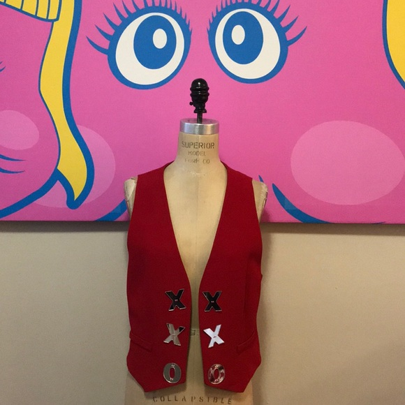 Moschino Cheap Chic Red Cut Out Heart Vest Vintage